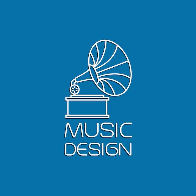 Design de música com gramofone Vetor Premium