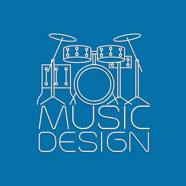 Design de música com logotipo de kit de bateria Vetor Premium