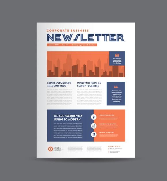 Design de newsletter de negócios | design de diário | design de relatório mensal ou anual Vetor Premium