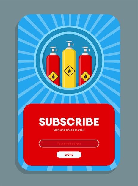 Design de newsletter online. ilustração vetorial de balões de gás com botão de inscrição e caixa para endereço de e-mail. conceito de produção e distribuição de gás para modelos de carta de assinatura Vetor grátis