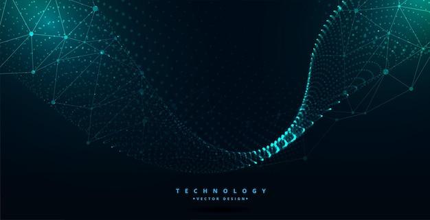 Design de onda de partículas com tecnologia digital futurista Vetor grátis