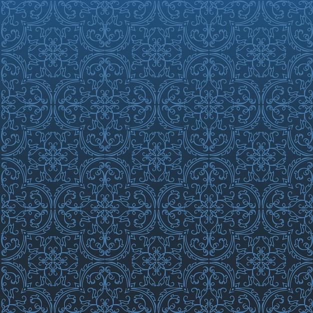 Design de padrão de fundo sem emenda do damasco e papel de parede feito de telhas de textura turca em vetor Vetor Premium
