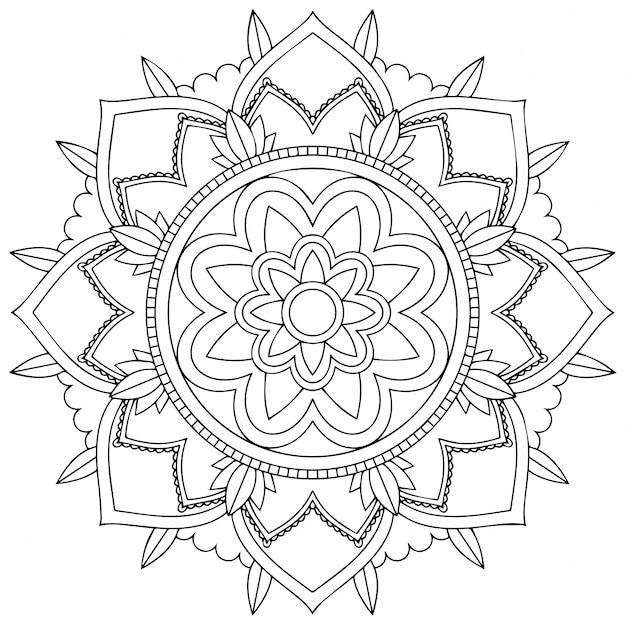 Design de padrão de mandala no fundo branco Vetor grátis
