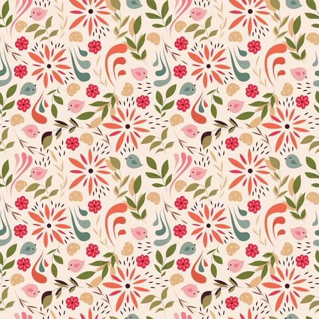 Design de padrão sem costura com pequenas flores, elementos florais, pássaros Vetor Premium