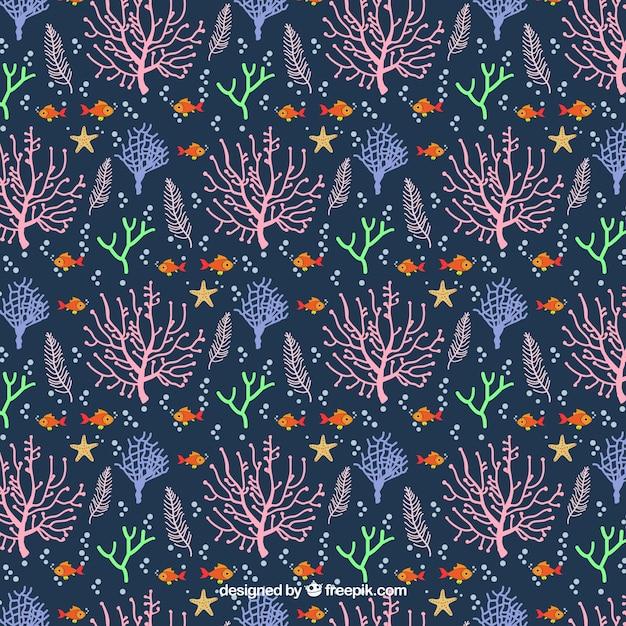 Design de padrão sem emenda coral em estilo simples Vetor grátis