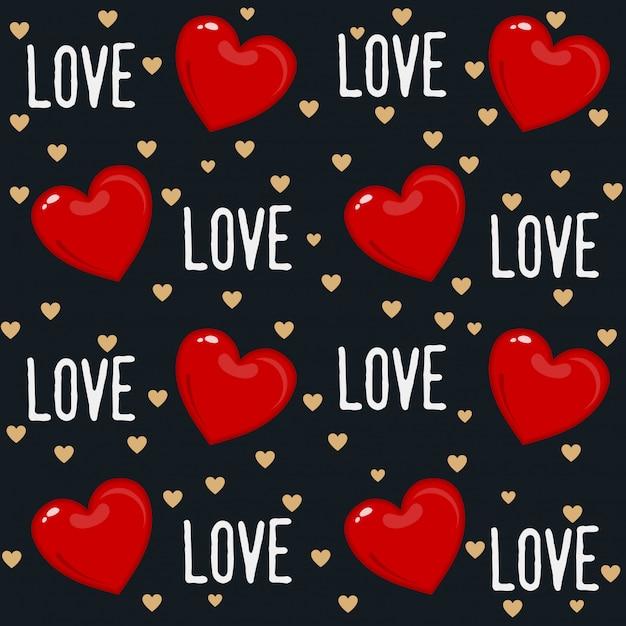 Design de padrão sem emenda do dia dos namorados bonito com corações e tipografia Vetor Premium