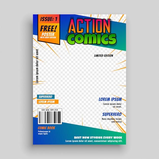 Design de página de capa de quadrinhos de ação Vetor grátis