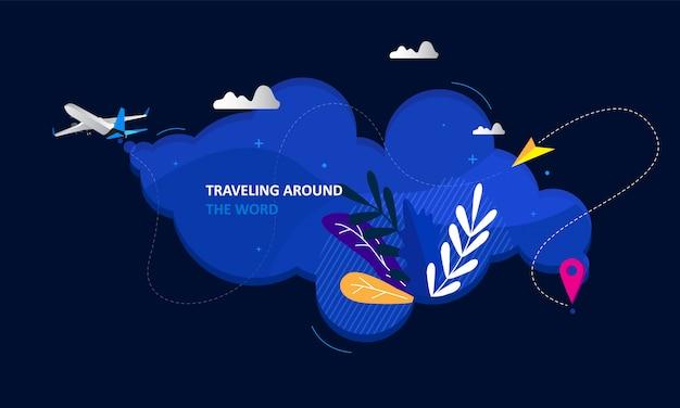 Design de página de destino de negócios de viagens on-line Vetor Premium