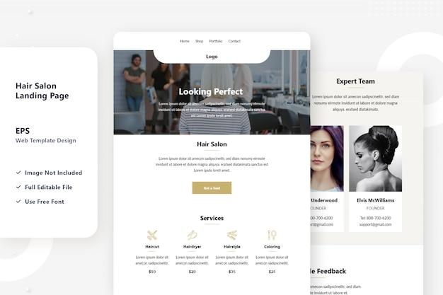 Design de página de destino de salão de cabeleireiro menina Vetor Premium