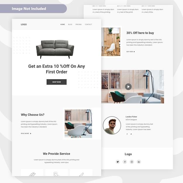 Design de página de destino de venda de móveis Vetor Premium