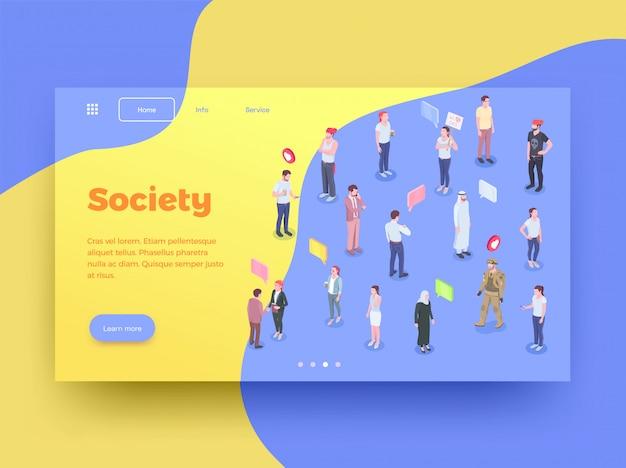 Design de página de destino do site isométrico de pessoas sociedade com personagens humanos pensei que bolhas e ilustração em vetor botões clicáveis Vetor grátis