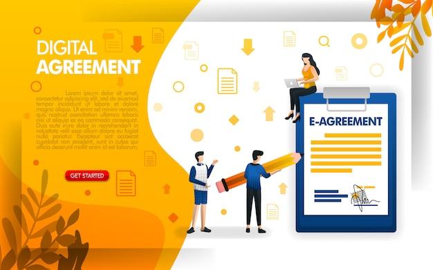 Design de página de destino para contratos digitais ou acordos eletrônicos Vetor Premium