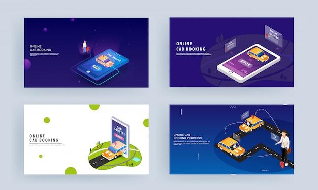 Design de página de destino responsivo diferente para reserva de táxi on-line ou aplicativo de serviço de viagem no smartphone. Vetor Premium