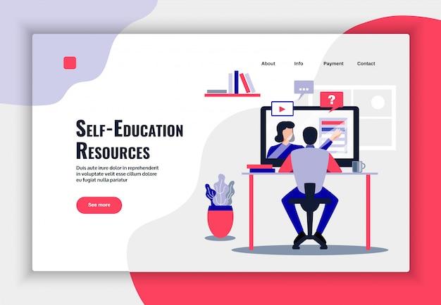 Design de página de educação on-line com ilustração plana de símbolos de recursos de aprendizagem Vetor grátis