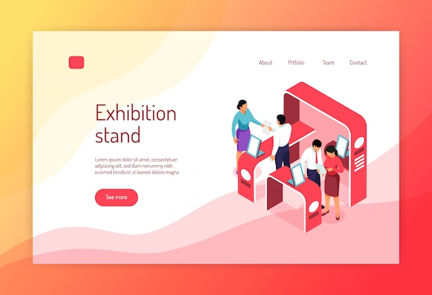 Design de página de site de banner isométrica expo conceito com s de exposição racks pessoas e links clicáveis Vetor grátis