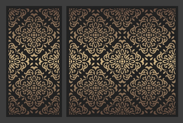 Design de painel cortado a laser. modelo de borda vintage ornamentado. Vetor Premium
