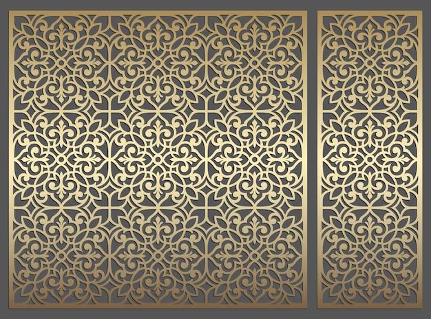 Design de painel de corte a laser. modelo de fronteira vector vintage ornamentado para corte a laser, vitrais, gravura em vidro, jateamento de areia, escultura em madeira, fabricação de cartões, convites de casamento. Vetor Premium
