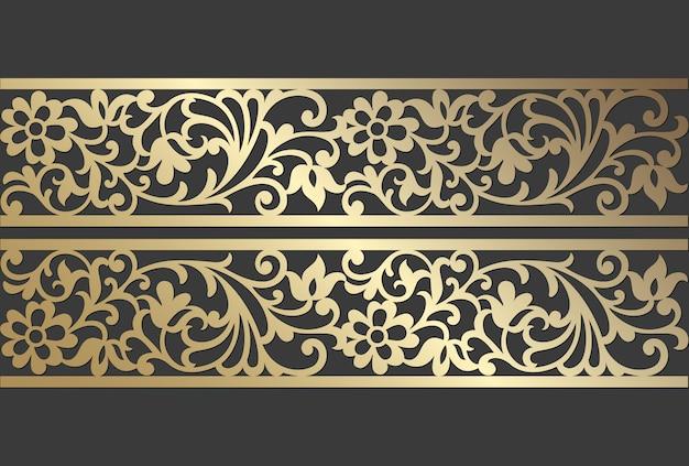 Design de painel de corte a laser. modelo de fronteira vetor vintage ornamentado para corte a laser, vitral, gravura em vidro, jateamento de areia, escultura em madeira, fabricação de cartões, convites de casamento. Vetor Premium