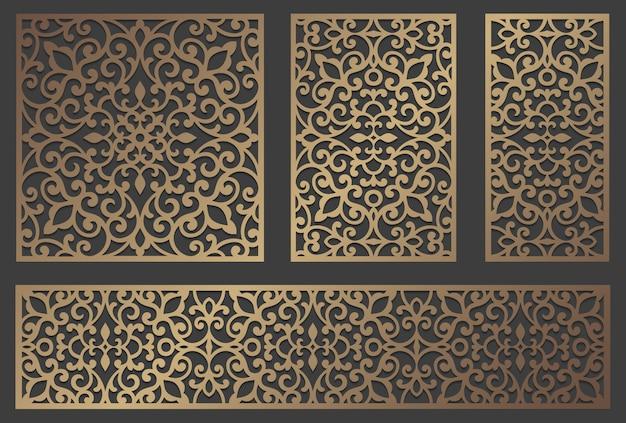 Design de painel de corte a laser. modelo de fronteira vintage ornamentado para corte a laser, vitral, gravura em vidro, jateamento de areia, escultura em madeira, fabricação de cartões, convites de casamento. Vetor Premium