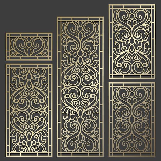 Design de painel de corte a laser. modelo de fronteira vintage ornamentado para corte a laser, vitral, gravura em vidro, jateamento de areia, escultura em madeira, fabricação de cartões. Vetor Premium