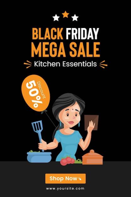 Design de panfleto da black friday mega sale em kitchen essentials Vetor Premium