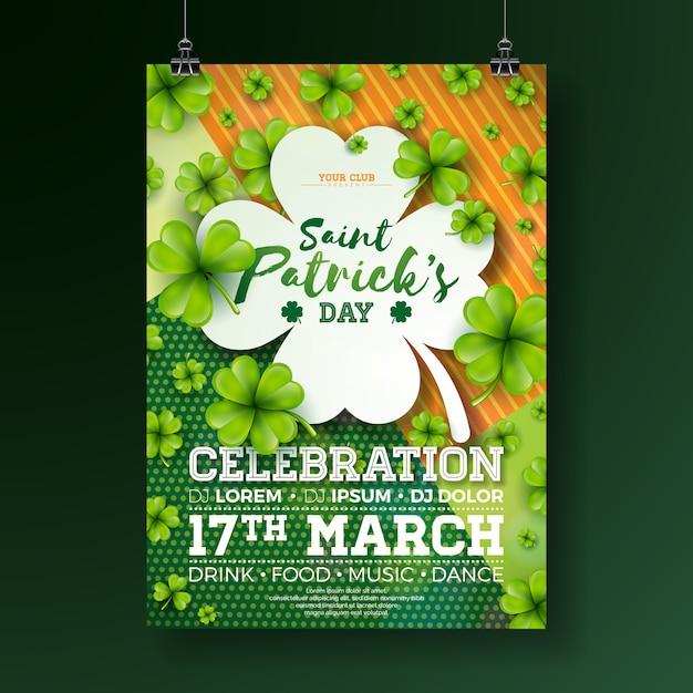 Design de panfleto de festa de dia de saint patrick com trevo Vetor Premium