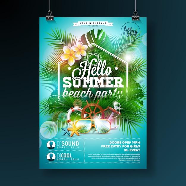 Design de panfleto de festa de praia de verão com flores e óculos escuros sobre fundo azul Vetor grátis