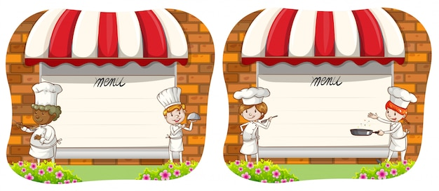 Design de papel com chef e menu Vetor grátis