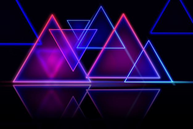 Design de papel de parede de luzes geométricas de néon Vetor grátis