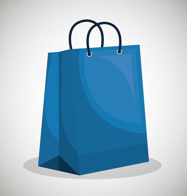 Design de papel do ícone saco azul loja Vetor Premium