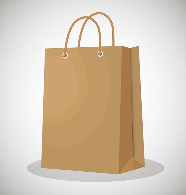 Design de papel do ícone saco loja Vetor Premium