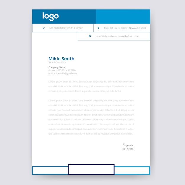 Design de papel timbrado azul Vetor Premium