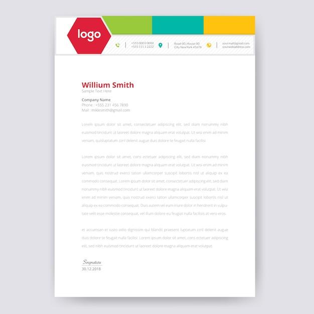 Design de papel timbrado colorido Vetor Premium