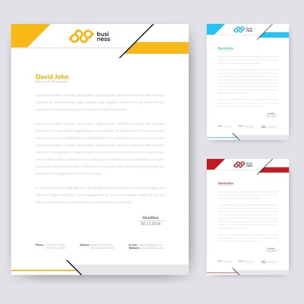 Design de papel timbrado simples Vetor Premium
