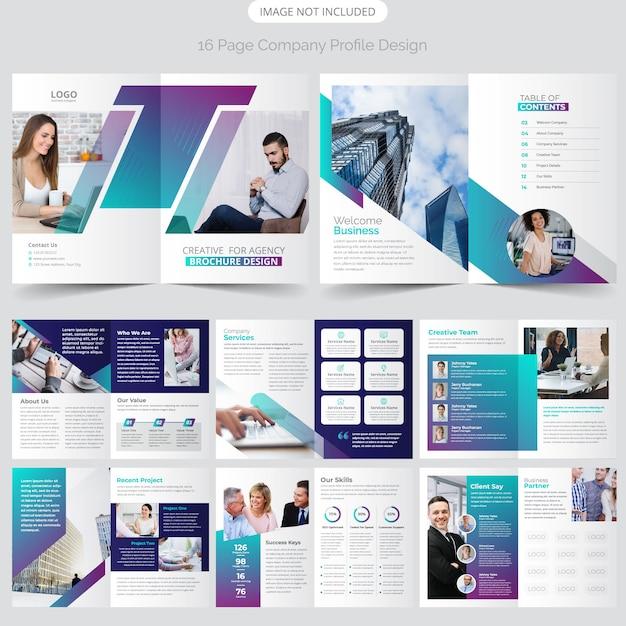 Design de perfil de empresa de 16 páginas Vetor Premium