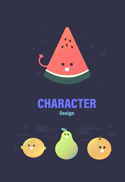 Design de personagem . personagem de frutas. frutas vetor Vetor Premium