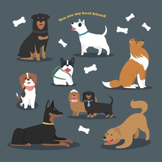 Design de personagem plana bonito de coleção de raças de cães Vetor Premium