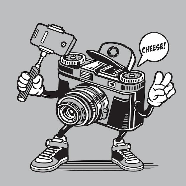 Design de personagens de câmera selfie Vetor Premium