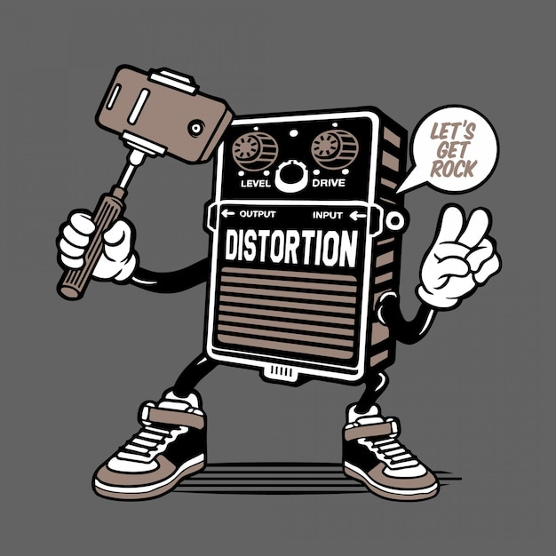 Design de personagens de distorção de efeito de guitarra Vetor Premium