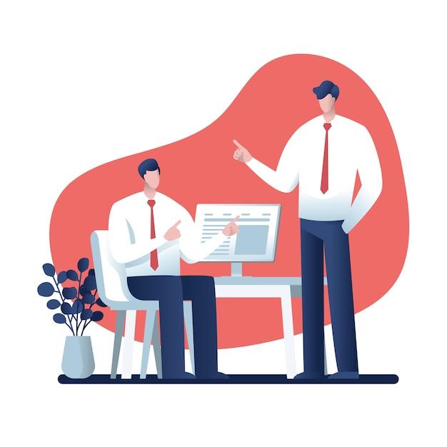 Design de personagens de homem de negócios, negócios on-line Vetor Premium
