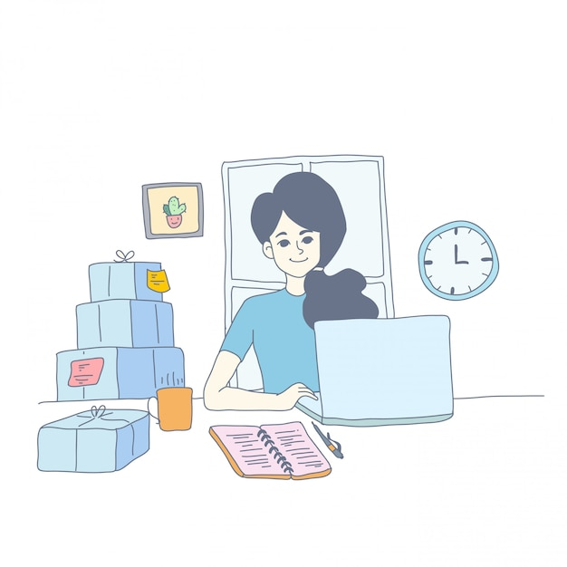 Design de personagens de menina de vetor Vetor Premium