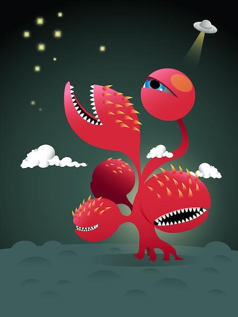 Design de personagens de um monstro vermelho Vetor Premium