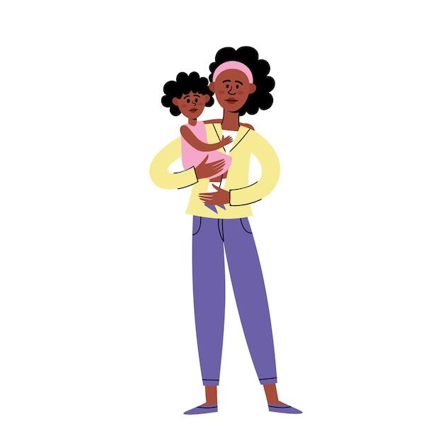 Design de personagens plana de mãe negra e filho, triste jovem afro-americano em pé com a filha protestando contra o racismo. Vetor Premium