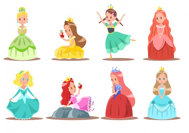 Design de personagens princesa Vetor Premium