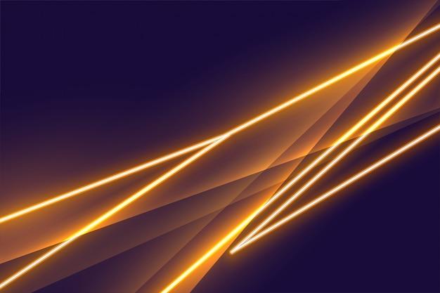 Design de plano de fundo com efeito de luz neon dourado stylight Vetor grátis