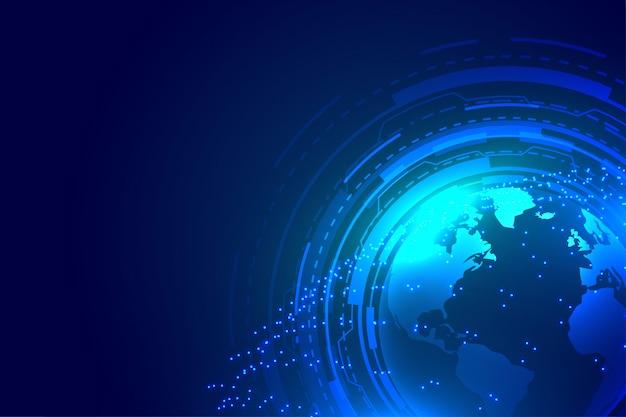 Design de plano de fundo digital de tecnologia azul terra global Vetor grátis