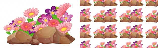 Design de plano de fundo sem emenda com flores cor de rosa e roxas gerbera Vetor grátis