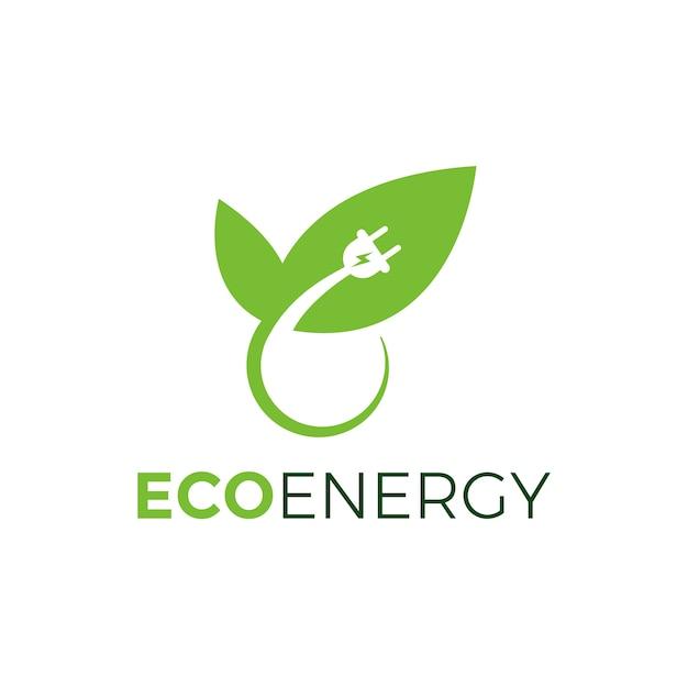 Design de plugue de energia verde eco com folha, eco energia logotipo modelo design vector Vetor Premium