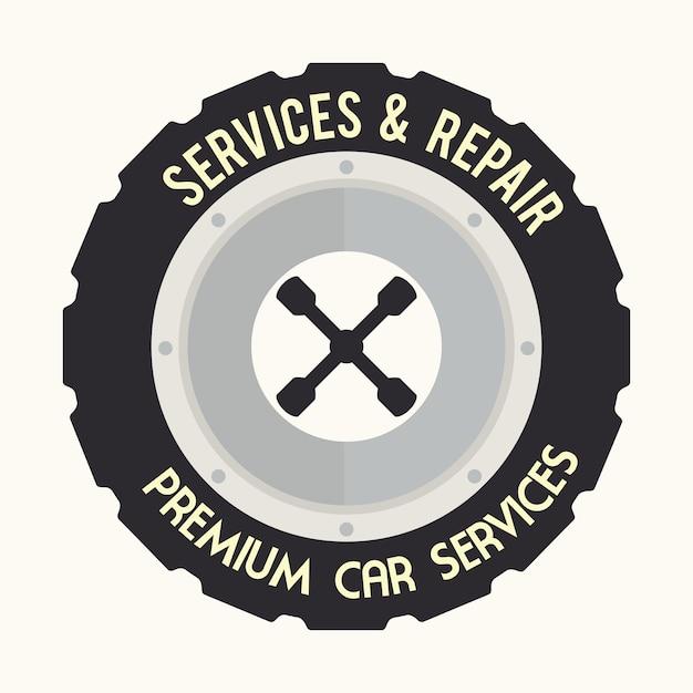 Design de pneu sobre ilustração vetorial de fundo branco Vetor Premium