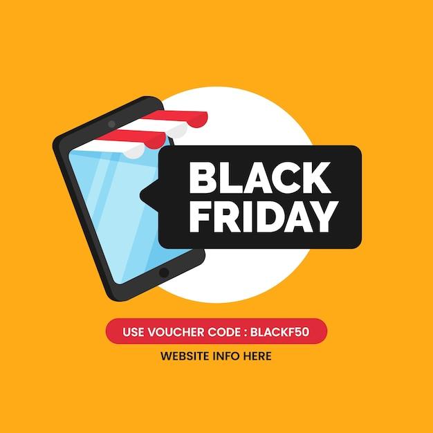 Design de pôster de mídia social de venda de aplicativo black friday com loja online móvel smartphone Vetor Premium